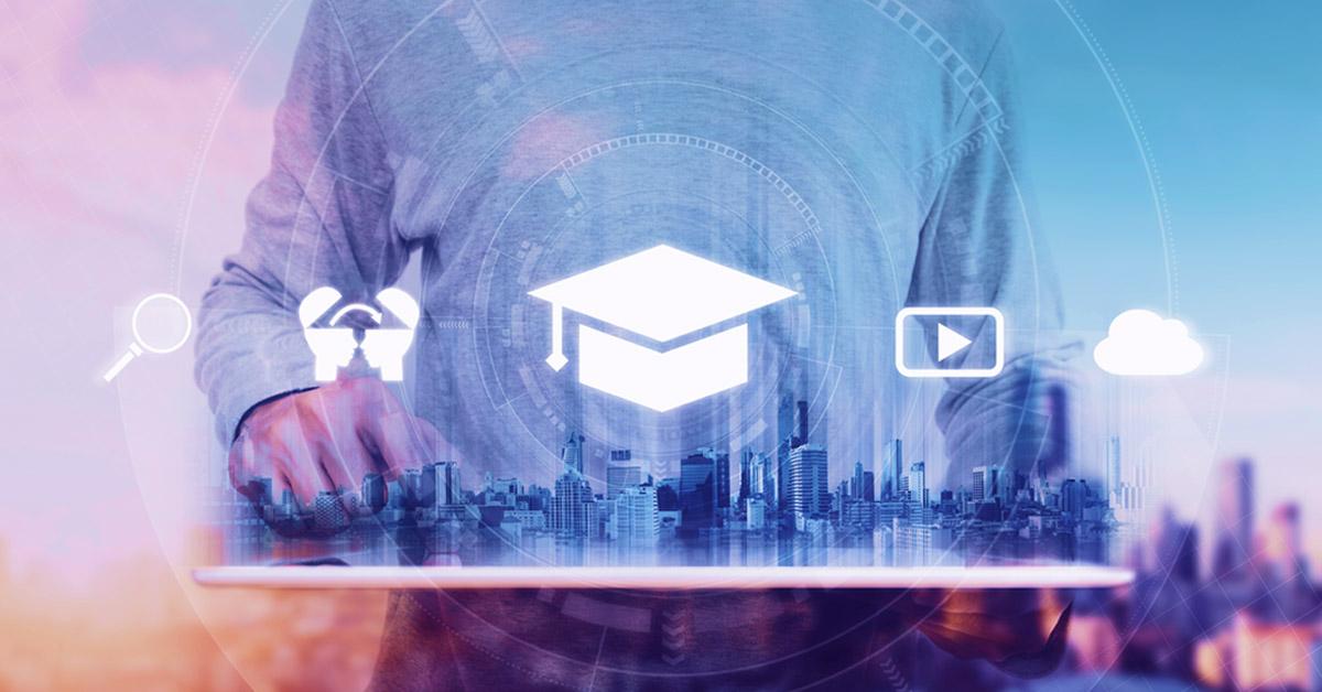 vários ícones que remetem à educação corporativa